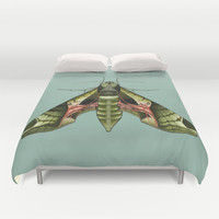 Pandorus Sphinx Moth Duvet Cover by Kate Halpin