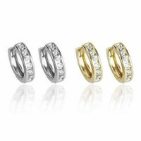 Sweet Hoops Earrings, Reversible with 12 CZ Diamonds in Real Gold Plated, 18 mm diameter