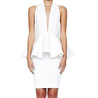 """Haute Minx"" White Peplum Backless Bandage Dress"