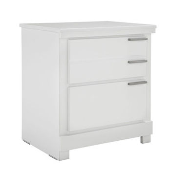 Standard Furniture Metropolitan 2 Drawer Nightstand in Glossy White