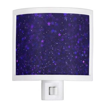 Purple Bokeh Stars Night Light