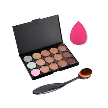 1set Professional Cosmetic 15 Colors contour Palette Face Cream Makeup Concealer Palette Set Tools Powder + Brush Hot Selling
