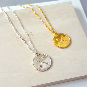 Sterling Silver Friendship Amulet Necklace | Crossed Arrows | Best Friend | Gift for Bridesmaids | Silver Necklace | Gold Necklace