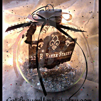 Limited edition Sherlock themed Ornament -jumbo glass bauble.