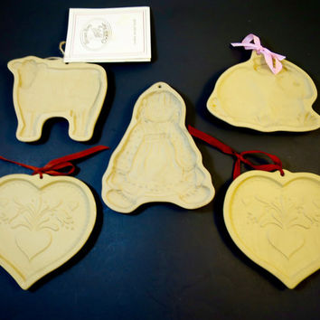 5 Vintage Brown Bag Cookie Molds Kitchen Wall Decor 2 Hearts, Bunny, Cow, Raggedy Doll Bisque Ceramic Molds
