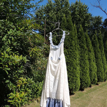 Clearance L-XL Prairie Paris Lace Blue Ombre Dress /Eco Friendly Upcycled Repurposed Tattered Boho Bohemian Clothing / Rustic Chic Dress