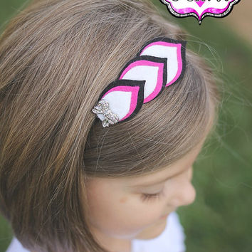 Felt Feather Headband - Girly Girl - Layered Felt Flower - 100% USA made felt - Clip -Wool blend felt - Baby Child Teen Adult