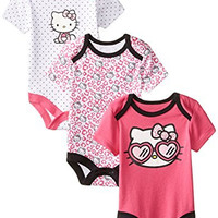 Hello Kitty Baby Girls' Value Pack Bodysuits, Pink/White, 0-3 Months