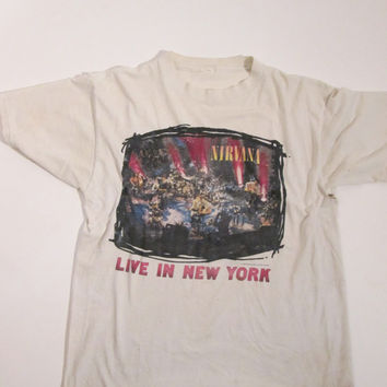Rare Vintage Nirvana Live in New York T Shirt S M L XL Tee Mini Dress Kurt Cobain Tunic Boho Hippie Gypsy Club Kid Acid Grunge 90s Festival