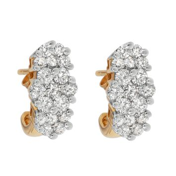 14k Yellow Gold 2.05ct TDW Round-cut Diamond Cluster Earrings