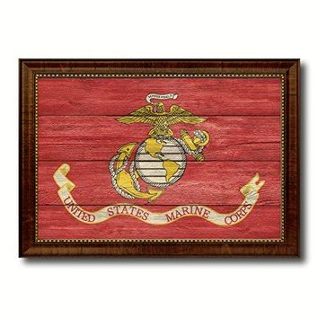 "US Marine Corps Military Flag Texture Canvas Print Brown Picture Frame Home Decor Wall Art Decoration Gift Ideas Signs 15""x21"""