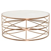 Melrose Round Coffee Table Brushed Rose Gold And White Stone