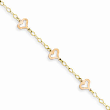 14K Two-tone Childs Heart Bracelet