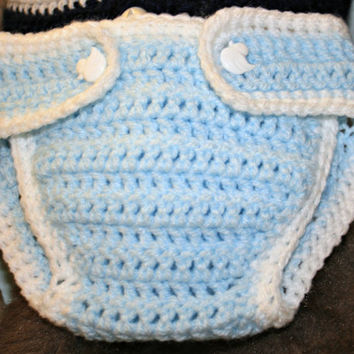 Crochet baby diaper nappy cover crochetyknitsnbits high quality baby boy clothes blue white new born baby boy shower gift 0 to 3 months