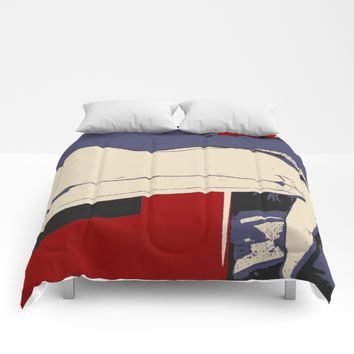Red, blue, beige and the body, sexy nude girl pop art, comic style illustration, adult erotic art Comforters by Peter Reiss