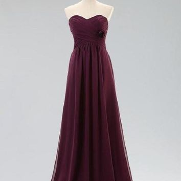 A-line Sweetheart Neck Strapless Sleeveless Ruched & Flowers Embellished Floor-length Grape Chiffon Bridesmaid Dresses,Long Wedding Party Bridesmaid Dresses