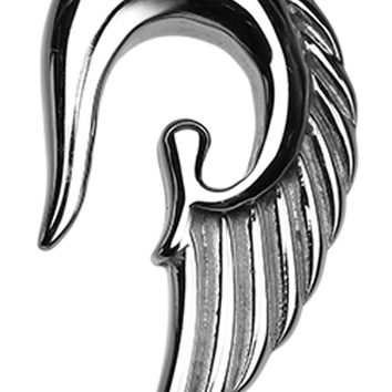 Fallen Angel Wing 316L Surgical Steel Ear Gauge Hanging Taper