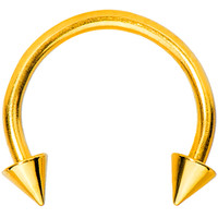 16 Gauge Gold Titanium Spike Horseshoe Circular Barbell 3/8"
