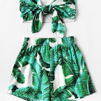 Leaf Print Random Bow Tie Crop Bandeau Top With ShortsFor Women-romwe