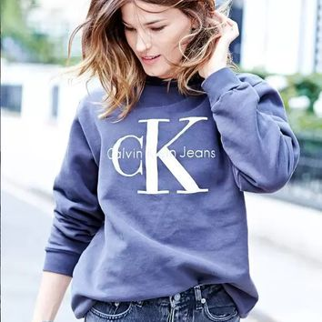"Fashion ""Calvin Klein"" Letter Print Round-neck Long Sleeve Pullover Tops Sweater"