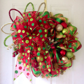 SALE: Whimsical, Extra Large, Christmas Deco Mesh Wreath Holiday Decoration in Lime Green, Gold, Red, Emerald Green