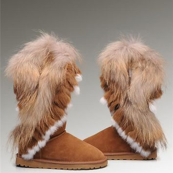 Sale UGG Fox Fur Tall Boots 8688 Chestnut