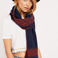 Border Print Navy and Rust Lightweight Scarf - Urban Outfitters
