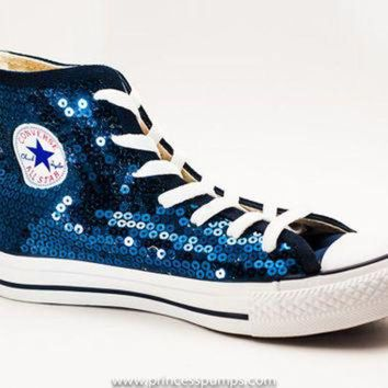 DCKL9 Navy Blue Sequin Converse Canvas Hi Top Sneaker
