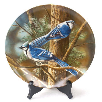"Porcelain Collectible Plate ""The Blue Jay"" Encyclopedia Britannica Birds of Your Garden by Kevin Daniels"