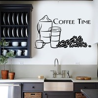 Wall Sticker Vinyl Decal Great Decor Quotes for Kitchen Coffee Time Unique Gift (ig1194)