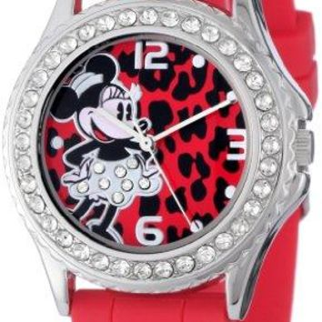 Disney Womens MN1055 Rhinestone Accent Minnie Mouse Red Rubber Strap Watch
