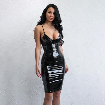 """Finishline"" black wet leather style bodycon dress"
