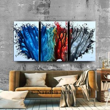 Large Painting Blue Abstract Wall Art triptych Modern Painting Luxury Style Red Teal Gray Blue Original Canvas Art Home Decor by Nandita