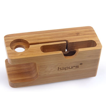Apple Watch Stand Hapurs iWatch Bamboo Wood Charging Dock Charge Station Stock Cradle Holder for Apple Watch Both 38mm and 42mm & iPhone 6 6 plus 5S 5 iWatch Stand - Bamboo