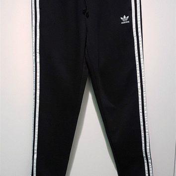 adidas Originals adicolor Three Stripe Regular Fit Cuffed Track Pants In Black