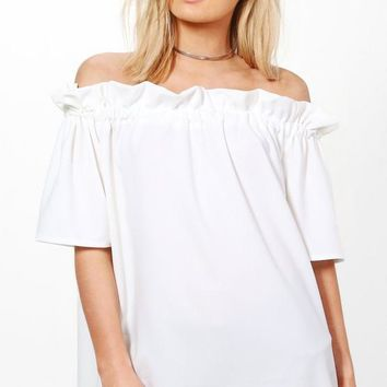 Kylie Off The Shoulder Frill Top | Boohoo