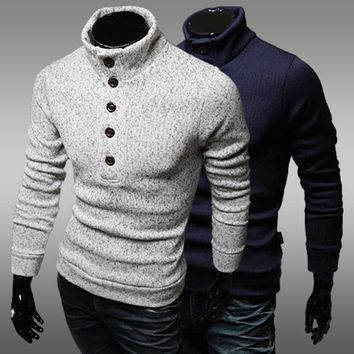 Turtleneck Sweaters Men Solid Long Sleeve Pullovers Men Sweater Knitwear Jumpers Fashion Casual Men's Winter Sweaters Shirts