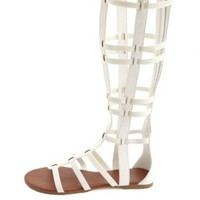 Stretchy Knee-High Gladiator Sandals by Charlotte Russe - White