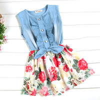 Children's Baby Girls Denim Splicing Floral Dress Sleeveless Cotton Dresses