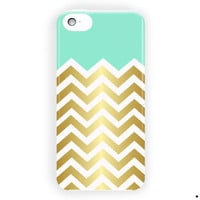 Mint And Gold Chevron Design Cute For iPhone 5 / 5S / 5C Case