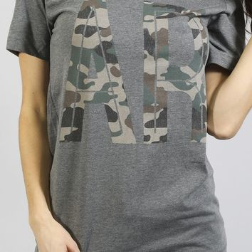 charlie southern: retro camo state love t shirt - arkansas
