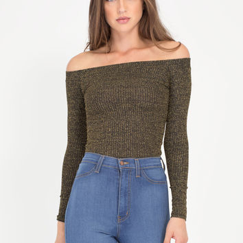 Until The Glitter End Off-Shoulder Top