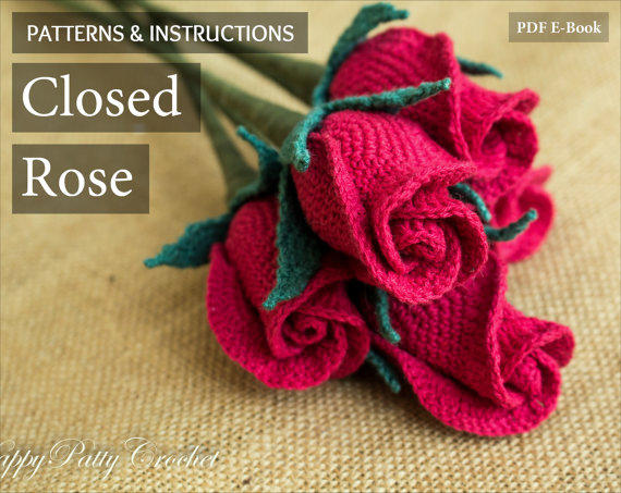 fa1439b9e11 Crochet Flower Pattern - Closed Rose Pattern - Crochet Rose - Stem Rose -  Romantic Gift - Easy Crochet Pattern - Instant Download