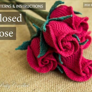 Crochet Flower Pattern - Closed Rose Pattern - Crochet Rose  - Stem Rose - Romantic Gift - Easy Crochet Pattern - Instant Download