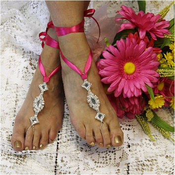 ENCHANTED wedding barefoot sandals - hot pink