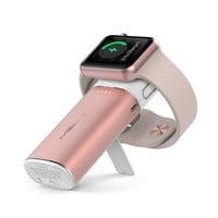 MIPOW 2 in 1 Apple Watch Charger, Wireless Charging Dock Station, 6000mAh Portable Power Bank Charger with Build-in Lightning Cable for iPhone(Rose Gold)