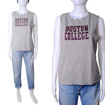 Vintage BOSTON COLLEGE reconstructed cut off paper thin gray preppy collegiate sleeveless tshirt