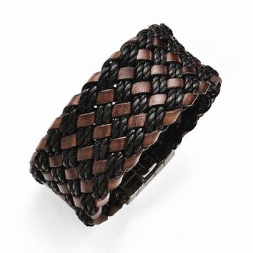 Stainless Steel Brushed Black and Brown Italian Woven Leather Bracelet
