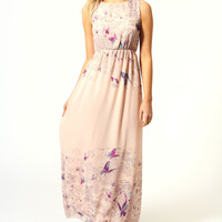 Rachel Tie Back Border Print Butterfly Maxi Dress