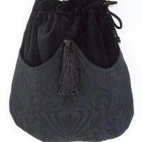 Black Mattelasse' Bag Black Velvet Bag   Evening Bag  Black Bag With Tassel  Renaissance Bag